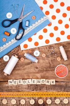 Handgemaakte en naaien achtergrond