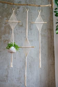 Handgemaakte katoenen macramé plant hanger opknoping van hout tak over grijze muur thuis