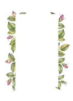 Handgemaakte uitnodigingskaart van roze roos rand. waterverf van rode rozenslinger op witte achtergrond