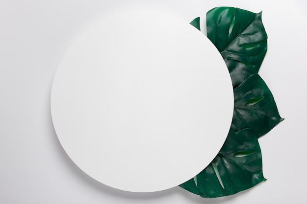 Handgeschept papier cirkel met bladeren ernaast