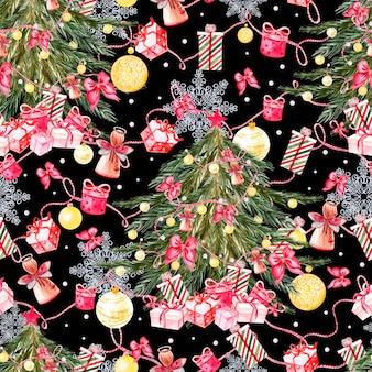 Handgeschilderd vrolijk kerstmis naadloos patroon met aquarel kerstboom, ballen van gele kleuren, bellen, strikken, geschenkdozen, snoepjes, sterren, laarzen en wanten. nieuwjaar decoratie. illustratie