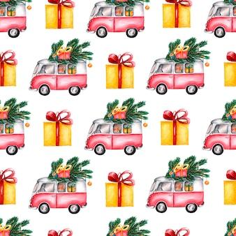 Handgeschilderd winterpatroon van bestelwagens en geschenken