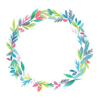 Handgeschilderde aquarel kleurrijke bladeren frame, natuurlijke cirkel krans, geïsoleerde illustratie