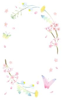 Handgeschilderde aquarel krans van butterlies en lentebloemen zoals sakura paardebloem herders portemonnee en margaret