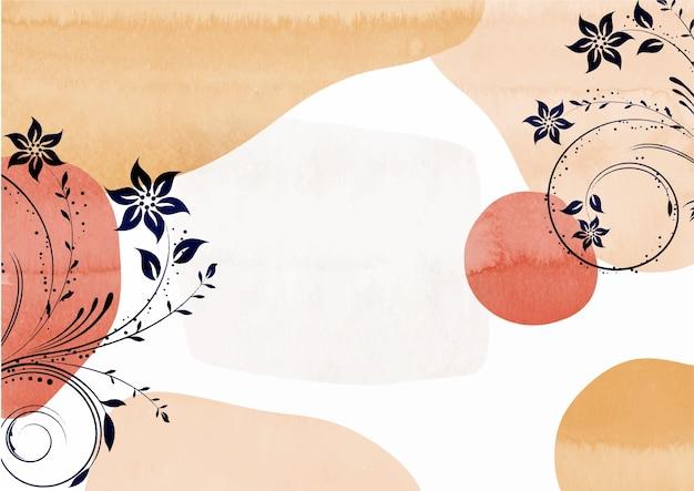 Handgeschilderde bloemen aquarel achtergrondontwerp watercolor