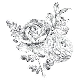 Handgeschilderde grapic bloemen tekening. bloemboeket zwart-witte illustratie.