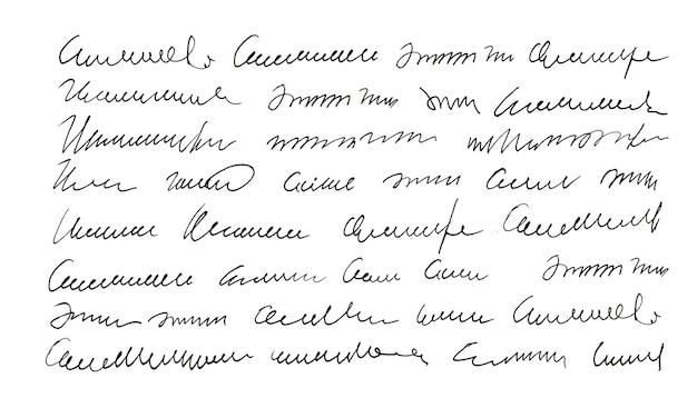 Handgeschreven ongedefinieerde tekst. handschrift. kalligrafie. handtekening. brief.