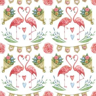 Handgetekend op valentijnsdagthema met flamingo's, een boeket bloemen en harten.