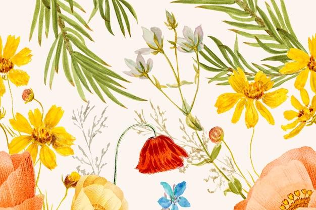 Handgetekende achtergrond met bloemenpatroon, geremixt van kunstwerken uit het publieke domein