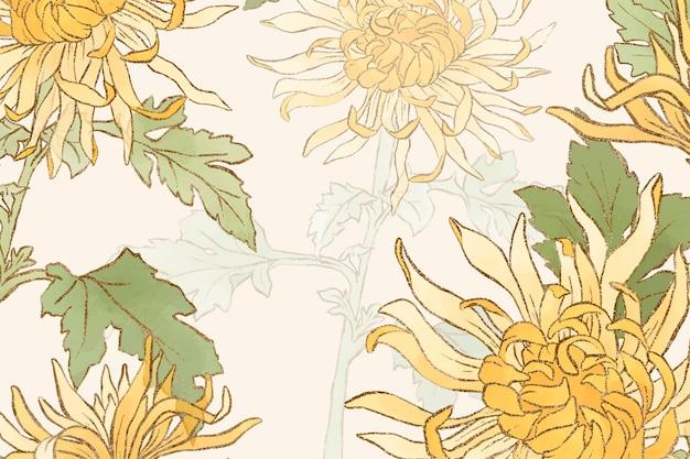Handgetekende chrysant bloemenachtergrond