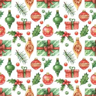Handgetekende kerst achtergrond gemaakt van heldere geschenken en kerstboomversieringen