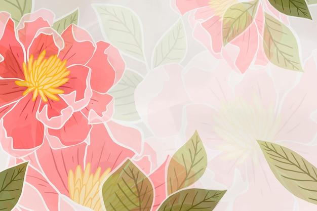 Handgetekende roze bloemenachtergrond