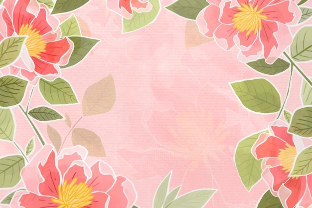 Handgetekende roze bloemenachtergrond Gratis Foto