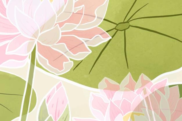 Handgetekende waterlelie bloemenachtergrond
