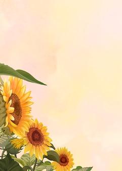 Handgetekende zonnebloem op een gele achtergrond