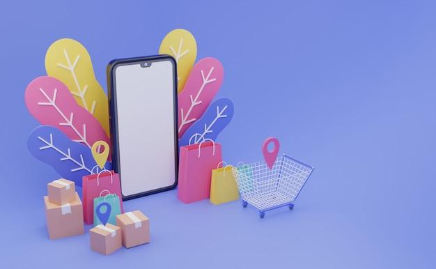 Handphone kleurrijke online winkel e-commerce 3d illustratie met witte ruimte schermachtergrond