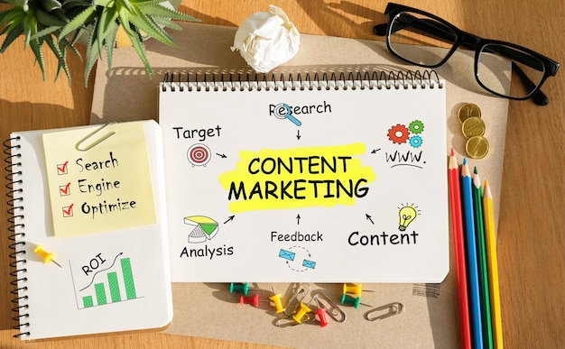 Handschrift van content marketing woord in notitieblok op de houten tafel