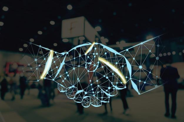 Handshake vorm schrijven door lijnen en punten over abstract wazig foto van financiële tentoonstelling evenement