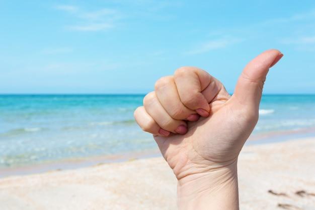 Handteken over blauwe overzees en hemel, de zomerreis, het concept van de vakantievakantie
