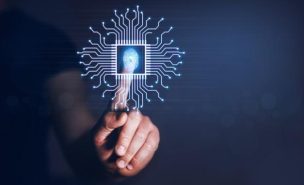 Handvingerafdruk biometrische identiteit vingerafdrukscan beveiligde toegang met biometrie