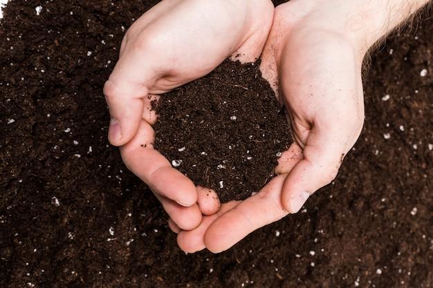 Handvol rijke bruine bodem