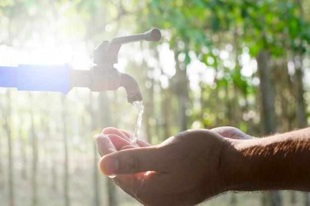 Handwas op achtergrond van de onduidelijk beeld de groene aard, het conservatieve concept van de waterenergie