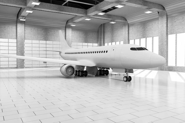 Hangar interieur met grote ramen en modern vliegtuig binnen