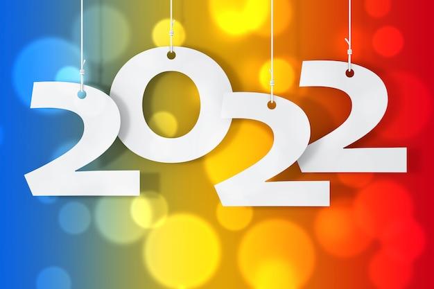 Hangend aan touwen nieuw 2022 jaarteken op een gekleurde achtergrond. 3d-rendering