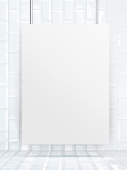 Hangend document affichekader bij keramische tegelsmuur en vloer,