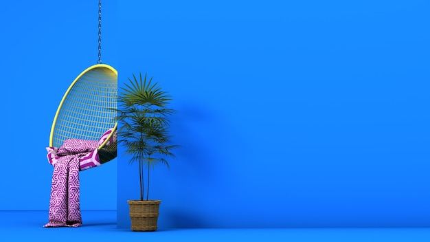 Hangende stoel op een blauwe achtergrond met exemplaarruimte