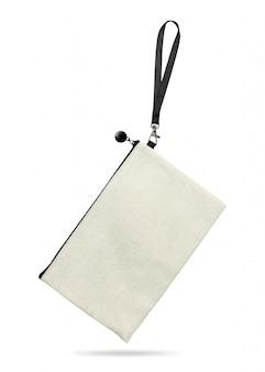 Hangende stoffenzak die op witte achtergrond wordt geïsoleerd.