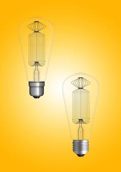 Hanglamp met gloeilamp geïsoleerd op gekleurd oppervlak