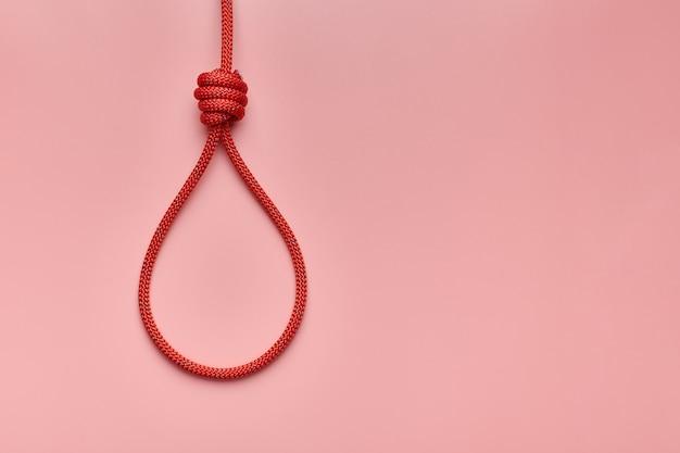Hangman knoop geïsoleerd op roze