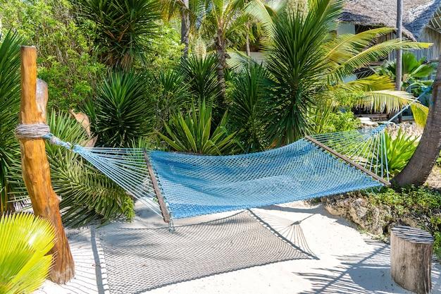 Hangmat opknoping tussen palmbomen aan het zandstrand en de kust