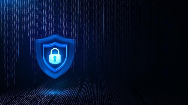 Hangslotpictogram op hitech of binaire codeachtergrond gegevensbescherming privacyconcept cyber data cyb