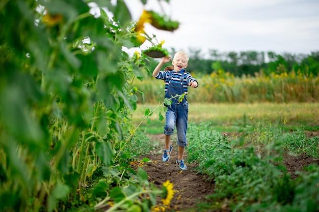 Happy babyjongen loopt door een veld met zonnebloemen in de zomer, de levensstijl van kinderen.