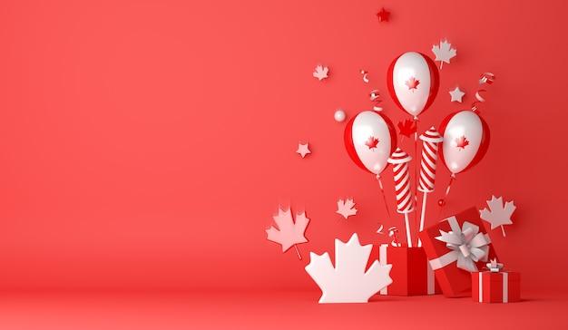 Happy canada day decoratie achtergrond met ballon vuurwerk esdoorn bladeren geschenkdoos
