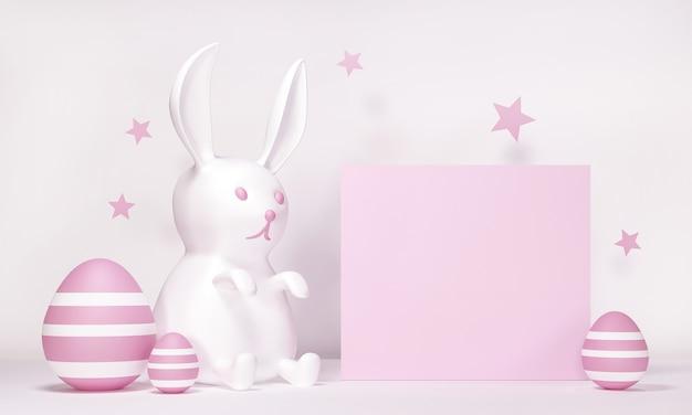 Happy easter wenskaart met konijn, konijn en eieren - mockup-sjabloon