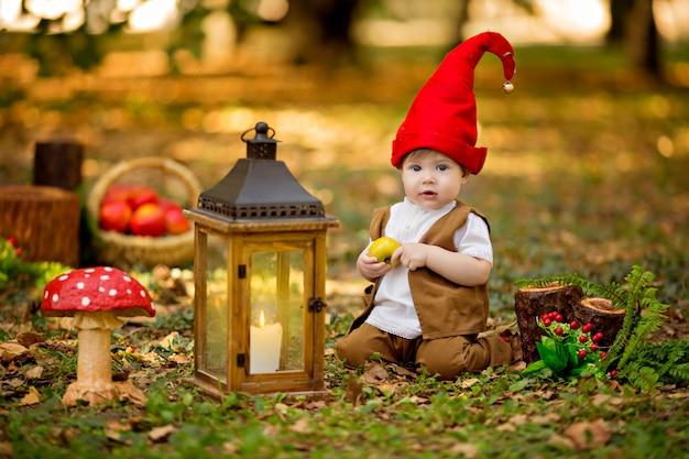 Happy fairy forest kabouter speelt en wandelt in het bos, verzamelt en eet heerlijke appels
