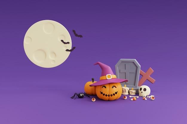 Happy halloween concept, pompoenen karakter dragen heks hoed, schedel, bot, kruisbeeld, vleermuis, doodskist, snoep, vleermuis. onder de moonlight.on paarse background.3d rendering.