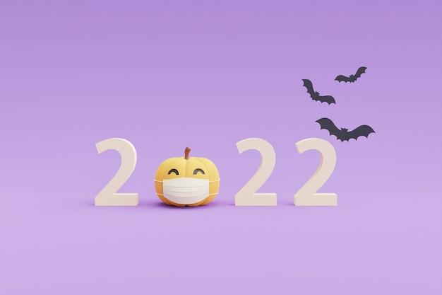 Happy halloween concept, pompoenen karakter dragen van een wit masker met kopie ruimte op paarse background.3d rendering.