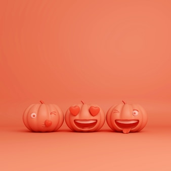 Happy halloween-groet met lachende cartoon pompoenen, 3d-rendering