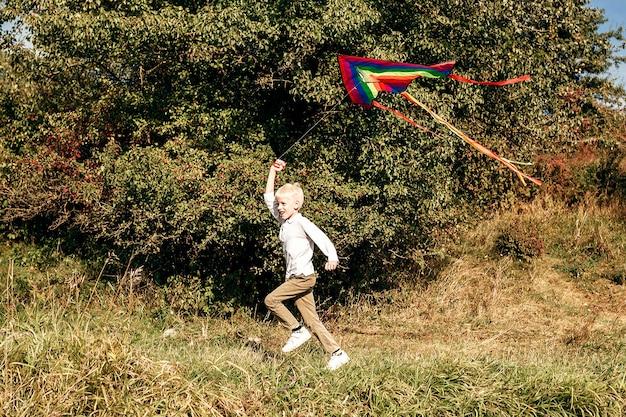 Happy hil rent over het gazon met een vlieger kid met vlieger op weide
