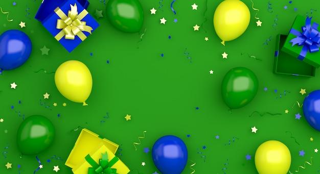 Happy independence day van brazilië decoratie achtergrond met ballon geschenkdoos confetti kopie ruimte
