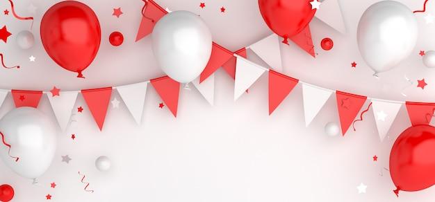 Happy independence day van indonesië of polen decoratie achtergrond met ballonnen bunting garland vlag, 3d-rendering