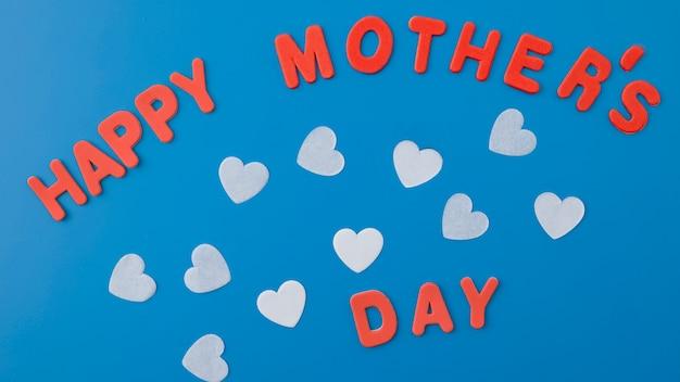Happy mothers day inscriptie met harten