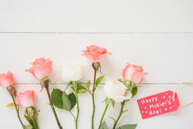 Happy mothers day inscriptie met rozen