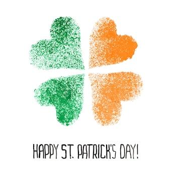 Happy st. patrick's day - ierse klavertje vier met kleuren van de vlag van ierland