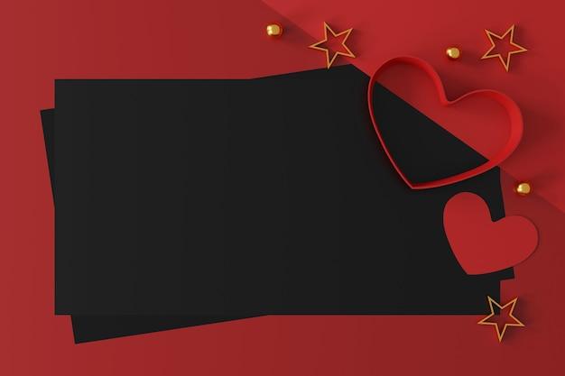 Happy valentijnsdag banner achtergrond. ruimte voor tekst. 3d illustratie