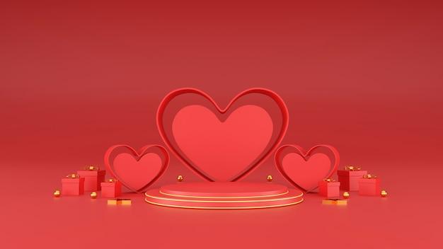 Happy valentijnsdag banner. hart, cadeau en doos op roze achtergrond. ruimte voor tekst. 3d illustratie
